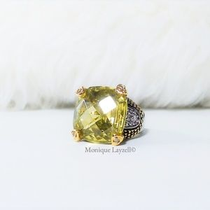 Jewelry - Green Peridot Square Silver tone Cocktail Ring